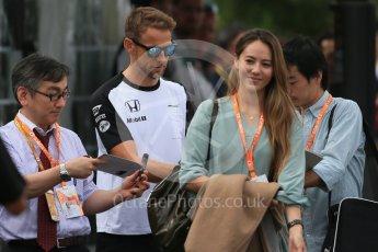 World © Octane Photographic Ltd. McLaren Honda MP4/30 - Jenson Button and Jessica Michibata. Sunday 27th September 2015, F1 Japanese Grand Prix, Setup, Suzuka. Digital Ref: 1448LB1D3890