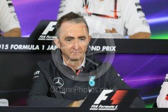 World © Octane Photographic Ltd. Team Personnel Press Conference. Friday 25th September 2015, F1 Japanese Grand Prix, Suzuka. Paddy Lowe - Mercedes AMG Petronas Executive Director. Digital Ref: 1444CB7D6134