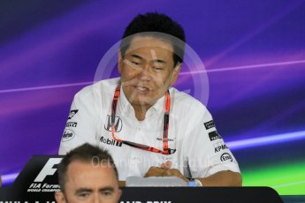World © Octane Photographic Ltd. Team Personnel Press Conference. Friday 25th September 2015, F1 Japanese Grand Prix, Suzuka. Yasuhisa Arai - Honda Head of Motorsport. Digital Ref: 1444CB7D6157