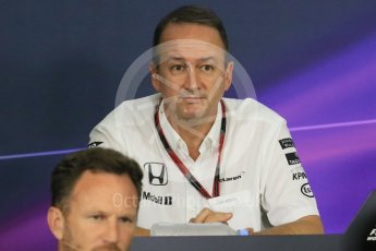 World © Octane Photographic Ltd. Team Personnel Press Conference. Friday 25th September 2015, F1 Japanese Grand Prix, Suzuka. Jonathan Neale – McLaren Honda – Chief Operating Officer and acting CEO. Digital Ref: 1444CB7D6187