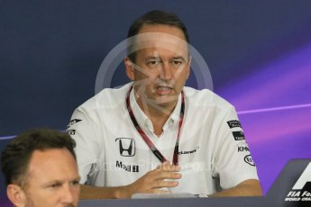 World © Octane Photographic Ltd. Team Personnel Press Conference. Friday 25th September 2015, F1 Japanese Grand Prix, Suzuka. Jonathan Neale – McLaren Honda – Chief Operating Officer and acting CEO. Digital Ref: 1444CB7D6201
