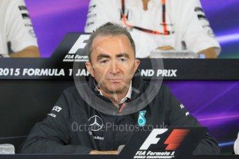 World © Octane Photographic Ltd. Team Personnel Press Conference. Friday 25th September 2015, F1 Japanese Grand Prix, Suzuka. Paddy Lowe - Mercedes AMG Petronas Executive Director. Digital Ref: 1444CB7D6225