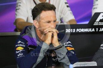 World © Octane Photographic Ltd. Team Personnel Press Conference. Friday 25th September 2015, F1 Japanese Grand Prix, Suzuka. Christian Horner – Infiniti Red Bull Racing team principle. Digital Ref: 1444CB7D6240