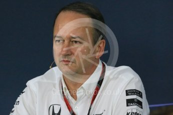 World © Octane Photographic Ltd. Team Personnel Press Conference. Friday 25th September 2015, F1 Japanese Grand Prix, Suzuka. Jonathan Neale – McLaren Honda – Chief Operating Officer and acting CEO. Digital Ref: 1444LB1D1927
