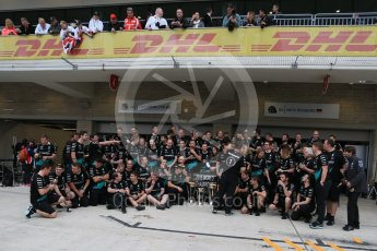 World © Octane Photographic Ltd. Mercedes AMG Petronas F1 team – Lewis Hamilton, celebrate on winning the USA GP, with enough points to take the World Drovers Championship (WDC) Sunday 25th October 2015, F1 USA Grand Prix, Austin, Texas - Circuit of the Americas (COTA). Digital Ref: 1468LB1D3087