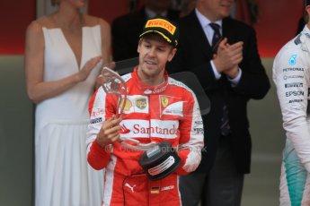 World © Octane Photographic Ltd. Scuderia Ferrari SF15-T– Sebastian Vettel. Sunday 24th May 2015, F1 Race - Podium, Monte Carlo, Monaco. Digital Ref: 1287CB7D8192