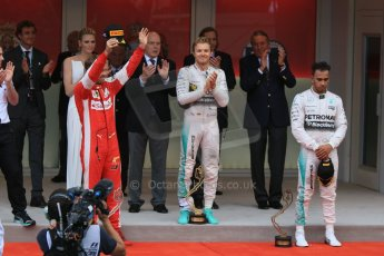 World © Octane Photographic Ltd. Mercedes AMG Petronas F1 W06 Hybrid – Nico Rosberg, Scuderia Ferrari SF15-T– Sebastian Vettel and Lewis Hamilton. Sunday 24th May 2015, F1 Race - Podium, Monte Carlo, Monaco. Digital Ref: 1287CB7D8252