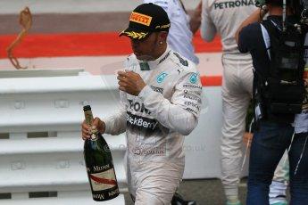World © Octane Photographic Ltd. Mercedes AMG Petronas F1 W06 Hybrid – Lewis Hamilton. Sunday 24th May 2015, F1 Race - Podium, Monte Carlo, Monaco. Digital Ref: 1287CB7D8303