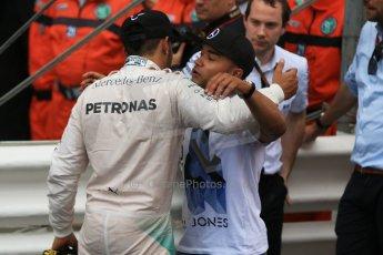 World © Octane Photographic Ltd. Mercedes AMG Petronas F1 W06 Hybrid – Lewis Hamilton. Sunday 24th May 2015, F1 Race - Podium, Monte Carlo, Monaco. Digital Ref: 1287CB7D8340