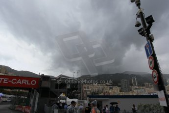 World © Octane Photographic Ltd. The weather closes in. Thursday 21st May 2015, F1 Practice 2, Monte Carlo, Monaco. Digital Ref: 1274CB1L9873