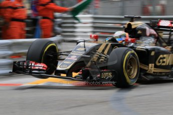 World © Octane Photographic Ltd. Lotus F1 Team E23 Hybrid – Romain Grosjean. Thursday 21st May 2015, F1 Practice 2, Monte Carlo, Monaco. Digital Ref: 1274CB7D3314