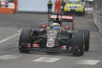 World © Octane Photographic Ltd. Lotus F1 Team E23 Hybrid – Romain Grosjean. Thursday 21st May 2015, F1 Practice 2, Monte Carlo, Monaco. Digital Ref: 1274CB7D3647