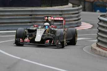 World © Octane Photographic Ltd. Lotus F1 Team E23 Hybrid – Romain Grosjean. Thursday 21st May 2015, F1 Practice 2, Monte Carlo, Monaco. Digital Ref: 1274LB1D3934