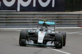 World © Octane Photographic Ltd. Mercedes AMG Petronas F1 W06 Hybrid – Nico Rosberg. Thursday 21st May 2015, F1 Practice 2, Monte Carlo, Monaco. Digital Ref: 1274LB1D3975