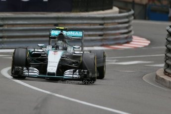 World © Octane Photographic Ltd. Mercedes AMG Petronas F1 W06 Hybrid – Nico Rosberg. Thursday 21st May 2015, F1 Practice 2, Monte Carlo, Monaco. Digital Ref: 1274LB1D4048