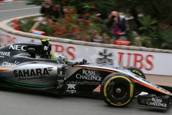 World © Octane Photographic Ltd. Sahara Force India VJM08 – Sergio Perez. Thursday 21st May 2015, F1 Practice 2, Monte Carlo, Monaco. Digital Ref: 1274LB5D3001