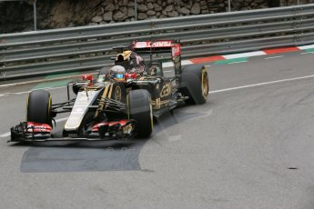 World © Octane Photographic Ltd. Lotus F1 Team E23 Hybrid – Romain Grosjean. Thursday 21st May 2015, F1 Practice 2, Monte Carlo, Monaco. Digital Ref: 1274LB5D3018
