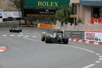 World © Octane Photographic Ltd. Mercedes AMG Petronas F1 W06 Hybrid – Nico Rosberg and Lewis Hamilton. Thursday 21st May 2015, F1 Practice 2, Monte Carlo, Monaco. Digital Ref: 1274LB5D3090