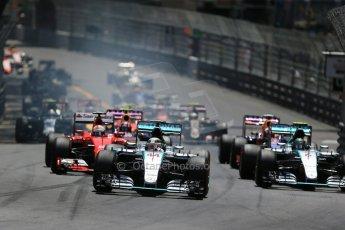 World © Octane Photographic Ltd. Mercedes AMG Petronas F1 W06 Hybrid – Lewis Hamilton. followed by his team mate Nico Rosberg. Sunday 24th May 2015, F1 Race, Monte Carlo, Monaco. Digital Ref: 1286LB1D8108