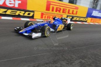 World © Octane Photographic Ltd. Sauber F1 Team C34-Ferrari – Felipe Nasr. Thursday 21st May 2015, F1 Spanish GP Formula 1 Practice 1. Monte Carlo, Monaco. Digital Ref: 1272CB1L9669