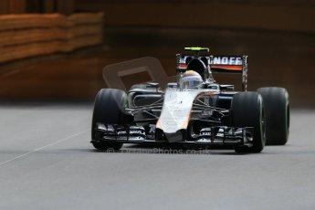 World © Octane Photographic Ltd. Sahara Force India VJM08 – Sergio Perez. Thursday 21st May 2015, F1 Practice 1, Monte Carlo, Monaco. Digital Ref: 1272CB7D2690