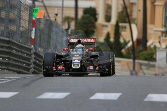 World © Octane Photographic Ltd. Lotus F1 Team E23 Hybrid – Romain Grosjean. Thursday 21st 2015, F1 Practice 1, Monte Carlo, Monaco. Digital Ref: 1272LB1D3600