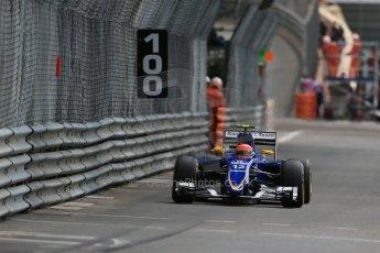 World © Octane Photographic Ltd. Sauber F1 Team C34-Ferrari – Felipe Nasr. Thursday 21st May 2015, F1 Spanish GP Formula 1 Practice 1. Monte Carlo, Monaco. Digital Ref: 1272LB1D3766
