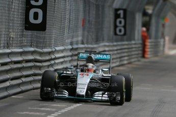 World © Octane Photographic Ltd. Mercedes AMG Petronas F1 W06 Hybrid – Lewis Hamilton. Thursday 21st May 2015, F1 Practice 1, Monte Carlo, Monaco. Digital Ref: 1272LB1D3789