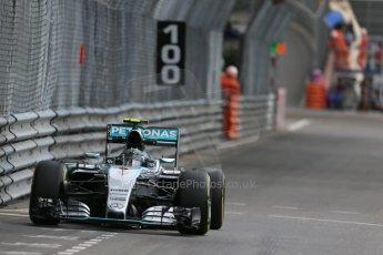 World © Octane Photographic Ltd. Mercedes AMG Petronas F1 W06 Hybrid – Nico Rosberg. Thursday 21st May 2015, F1 Practice 1, Monte Carlo, Monaco. Digital Ref: 1272LB1D3858