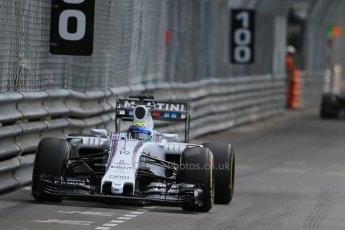 World © Octane Photographic Ltd. Williams Martini Racing FW37 – Felipe Massa. Thursday 21st May 2015, F1 Practice 1, Monte Carlo, Monaco. Digital Ref: 1272LB1D3869