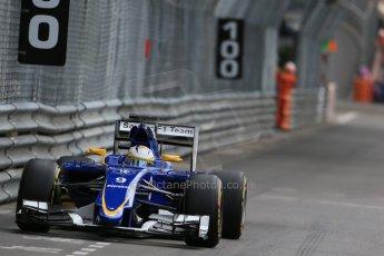 World © Octane Photographic Ltd. Sauber F1 Team C34-Ferrari – Marcus Ericsson. Thursday 21st May 2015, F1 Practice 1, Monte Carlo, Monaco. Digital Ref: 1272LB1D3881