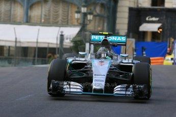 World © Octane Photographic Ltd. Mercedes AMG Petronas F1 W06 Hybrid – Nico Rosberg. Thursday 21st May 2015, F1 Practice 1, Monte Carlo, Monaco. Digital Ref: 1272LB5D2610