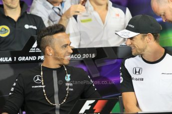 World © Octane Photographic Ltd. Mercedes AMG Petronas F1 – Lewis Hamilton and McLaren Honda - Jenson Button. Wednesday 20th May 2015, FIA Drivers' Press Conference, Monte Carlo, Monaco. Digital Ref: 1271CB1L9285