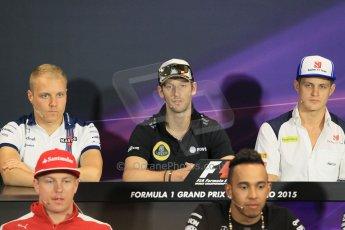World © Octane Photographic Ltd. Lotus F1 Team – Romain Grosjean. Wednesday 20th May 2015, FIA Drivers' Press Conference, Monte Carlo, Monaco. Digital Ref: 1271CB1L9455