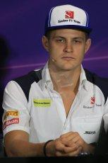 World © Octane Photographic Ltd. Sauber F1 Team – Marcus Ericsson. Wednesday 20th May 2015, FIA Drivers' Press Conference, Monte Carlo, Monaco. Digital Ref: 1271LB1D3076