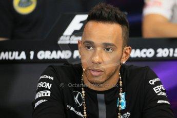 World © Octane Photographic Ltd. Mercedes AMG Petronas F1 – Lewis Hamilton. Wednesday 20th May 2015, FIA Drivers' Press Conference, Monte Carlo, Monaco. Digital Ref: 1271LB1D3167