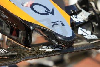 World © Octane Photographic Ltd. Sahara Force India VJM08 nose. Wednesday 20th May 2015, F1 Pitlane, Monte Carlo, Monaco. Digital Ref:  1270CB1L9107