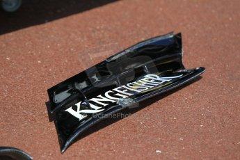 World © Octane Photographic Ltd. Sahara Force India VJM08 front wing rear aerofoil section. Wednesday 20th May 2015, F1 Pitlane, Monte Carlo, Monaco. Digital Ref:  1270CB1L9113
