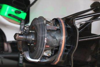 World © Octane Photographic Ltd. Williams Martini Racing FW37 front brake. Wednesday 20th May 2015, F1 Pitlane, Monte Carlo, Monaco. Digital Ref:  1270CB7D2467