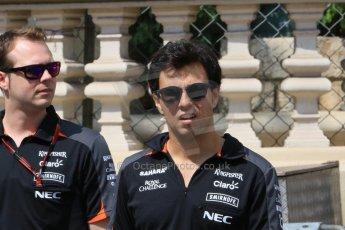 World © Octane Photographic Ltd. Sahara Force India VJM08 – Sergio Perez. Wednesday 20th May 2015, F1 Track walk, Monte Carlo, Monaco. Digital Ref: 1270CB7D2499