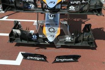 World © Octane Photographic Ltd. Sahara Force India VJM08 front wing. Wednesday 20th May 2015, F1 Pitlane, Monte Carlo, Monaco. Digital Ref:  1270LB1D2964