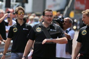 World © Octane Photographic Ltd. Lotus F1 Team E23 Hybrid – Romain Grosjean. Wednesday 20th May 2015, F1 Pitlane, Monte Carlo, Monaco. Digital Ref: 1270LB5D2527