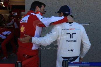 World © Octane Photographic Ltd. Williams Martini Racing FW37 – Felipe Massa and Ferrari mechanic. Saturday 6th June 2015, F1 Canadian GP Practice 3 pitlane, Circuit Gilles Villeneuve, Montreal, Canada. Digital Ref: 1295CB7D0759