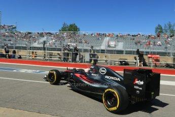 World © Octane Photographic Ltd. McLaren Honda MP4/30 - Jenson Button. Saturday 6th June 2015, F1 Canadian GP Practice 3 pitlane, Circuit Gilles Villeneuve, Montreal, Canada. Digital Ref: 1295CB7D0935