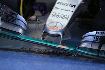 World © Octane Photographic Ltd. Mercedes AMG Petronas F1 W06 Hybrid – Lewis Hamilton nose detail. Saturday 6th June 2015, F1 Canadian GP Practice 3 pitlane, Circuit Gilles Villeneuve, Montreal, Canada. Digital Ref: 1295LB1D0742