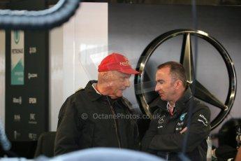 World © Octane Photographic Ltd. Mercedes AMG Petronas Niki Lauda and Paddy Lowe. Saturday 6th June 2015, F1 Canadian GP Practice 3 pitlane, Circuit Gilles Villeneuve, Montreal, Canada. Digital Ref: 1295LB1D0840