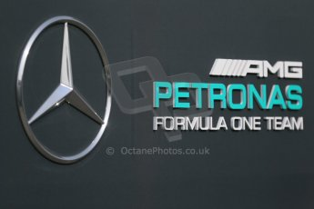 World © Octane Photographic Ltd. Mercedes AMG Petronas logo. Sunday 7th June 2015, F1 Canadian GP Paddock, Circuit Gilles Villeneuve, Montreal, Canada. Digital Ref: 1297LB1D2748