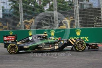 World © Octane Photographic Ltd. Lotus F1 Team E23 Hybrid – Pastor Maldonado. Friday 18th September 2015, F1 Singapore Grand Prix Practice 1, Marina Bay. Digital Ref: