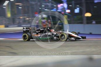 World © Octane Photographic Ltd. Sahara Force India VJM08B – Nico Hulkenberg. Friday 18th September 2015, F1 Singapore Grand Prix Practice 2, Marina Bay. Digital Ref: 1429CB5D0290