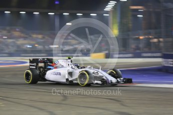 World © Octane Photographic Ltd. Williams Martini Racing FW37 – Valtteri Bottas. Friday 18th September 2015, F1 Singapore Grand Prix Practice 2, Marina Bay. Digital Ref: 1429CB5D0314